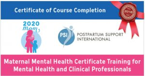 Heidi McBain's 2018 Maternal Mental Health Training Certificate from PSI - Postpartum Support International